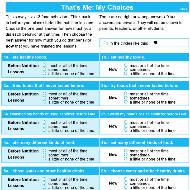That's Me: My Choices Scantron Survey